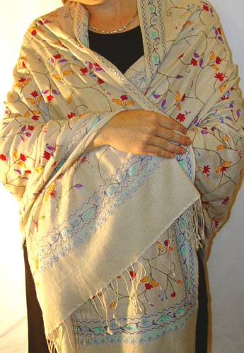 70% pashmina/30% silk fullsize shawl with multi-color Kanya Devi embroidery