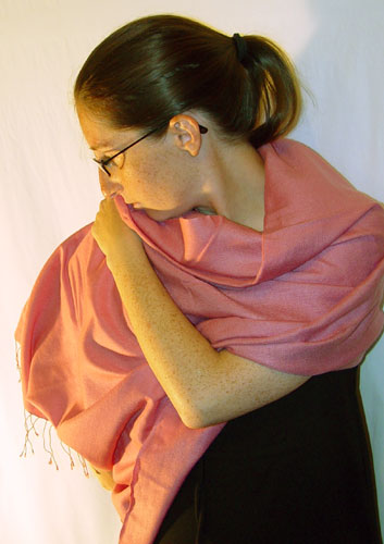 50% pashmina/50% silk full-size, dusty rose
