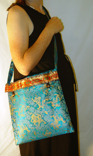 faux silk brocade tote bag, free with each shawl; available in a variety of colors