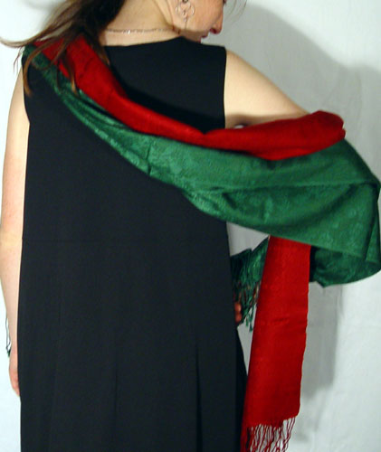 70% pashmina/30% silk crimson and hunter green Jacquard mufflers