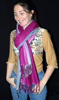 70% pashmina/30% silk fullsize shawl with ombre two-tone dying