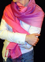 pashmina/silk  fullsize shawl with ombre two-tone dying
