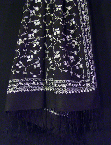 70% pashmina/30% silk  shawl with Kanya Devi embroidery