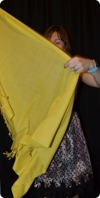 VIS #2P314 Empire Yellow medium size 100% pashmina twill shawl with tassels