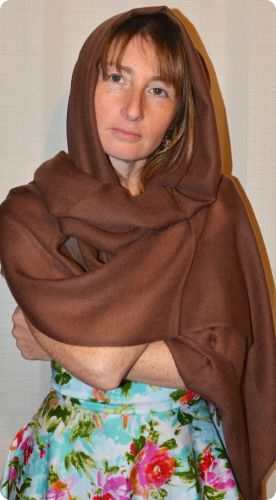 Sunrise Pashmina (VIS #413) Pine Cone Brown medium-size pumori shawl