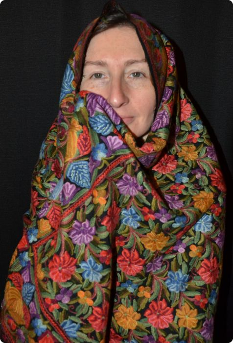 Shalimar Gita #5, embroidered shawl from Sunrise Pashmina