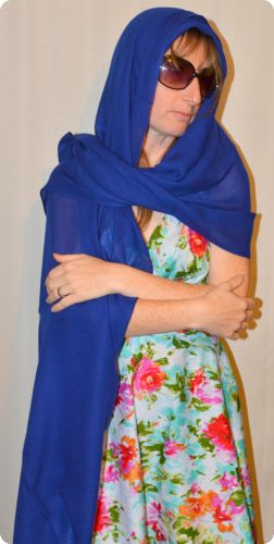 Sunrise Pashmina (VIS #419) Royal Blue   medium-size pumori shawl