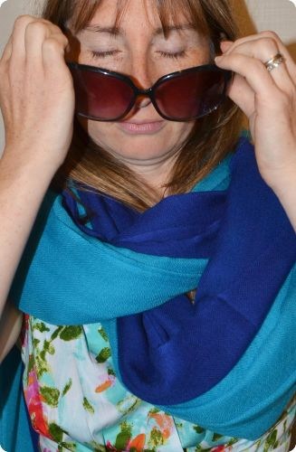 Sunrise Pashmina (VIS #419) Royal Blue and (VIS #420) Capri Breeze   medium-size pumori shawl