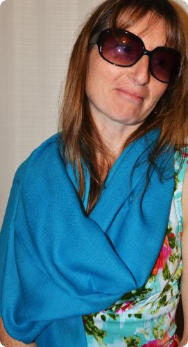 Sunrise Pashmina (VIS #420) Capri Breeze medium-size pumori shawl