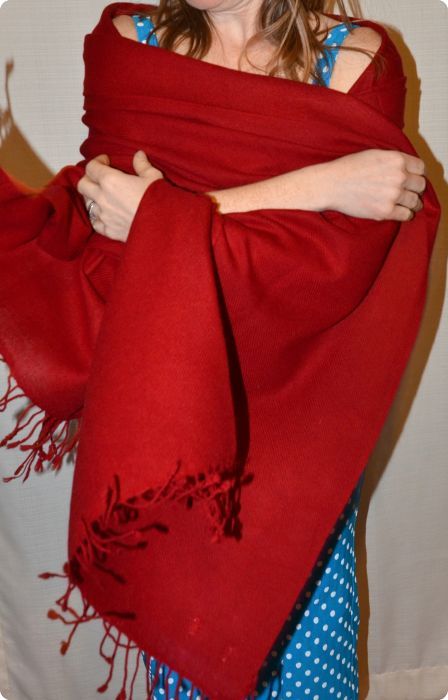(VIS #16D-18) Medium-size 70% pashmina/30% silk shawl in Jester Red, from Sunrise Pashmina