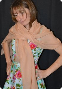 Sunrise Pashmina (VIS #421) Peach Nougat medium-size pumori shawl
