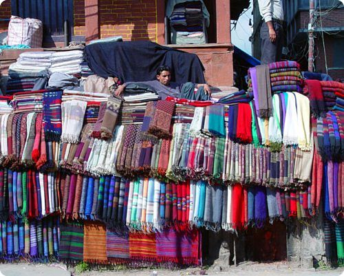 So-called pashmina shawls being sold in the streets of Kathmandu