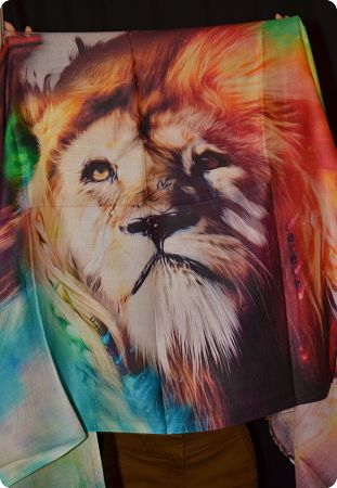VIS #910  medium size modal shawl with lion digital print