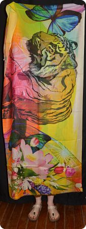 VIS #911  medium size modal shawl with tiger digital print