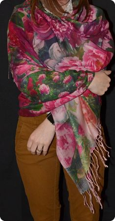 VIS #912  medium size modal shawl with roses digital print