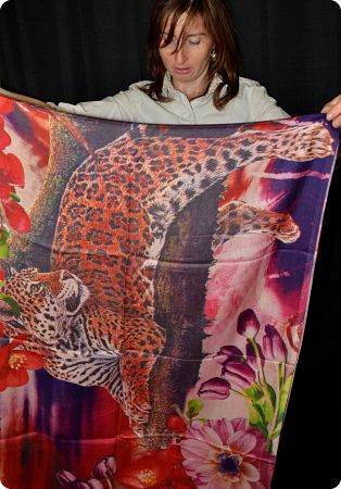 VIS #915  medium size modal shawl with digital jaguar print