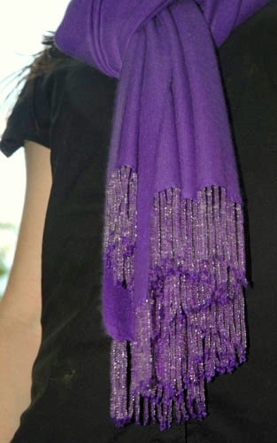 Grape (thread color #41)  70/30 medium with straight fringes, clear beads