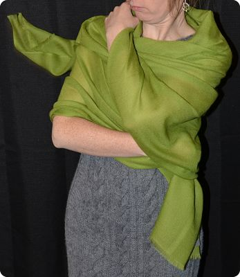 Sunrise Pashmina  (VIS #410) Peridot Green medium-size pumori shawl