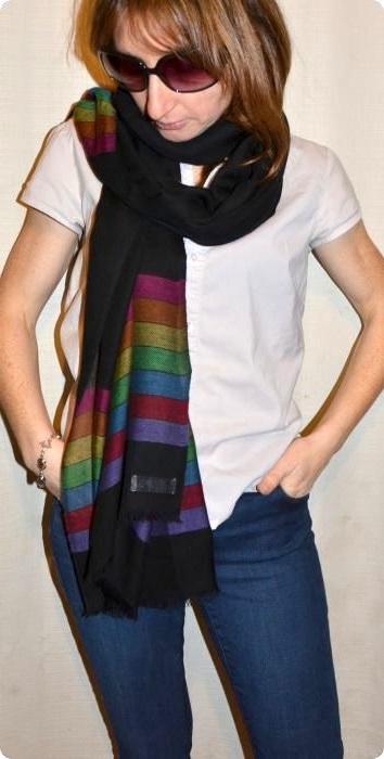 Sunrise Pashmina striped shawl