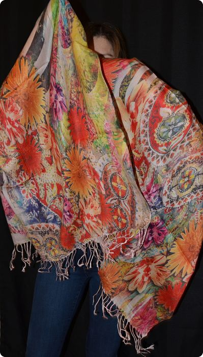 VIS #904 medium size modal shawl with digital print