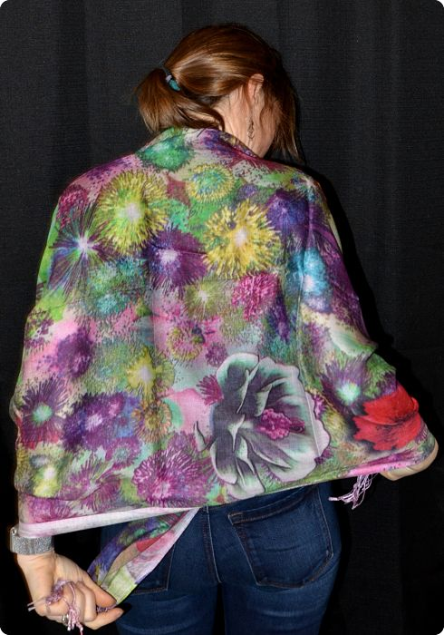 VIS #908 medium size modal shawl with digital print