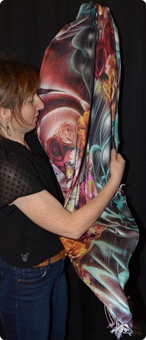 VIS #909 medium size modal shawl with digital print